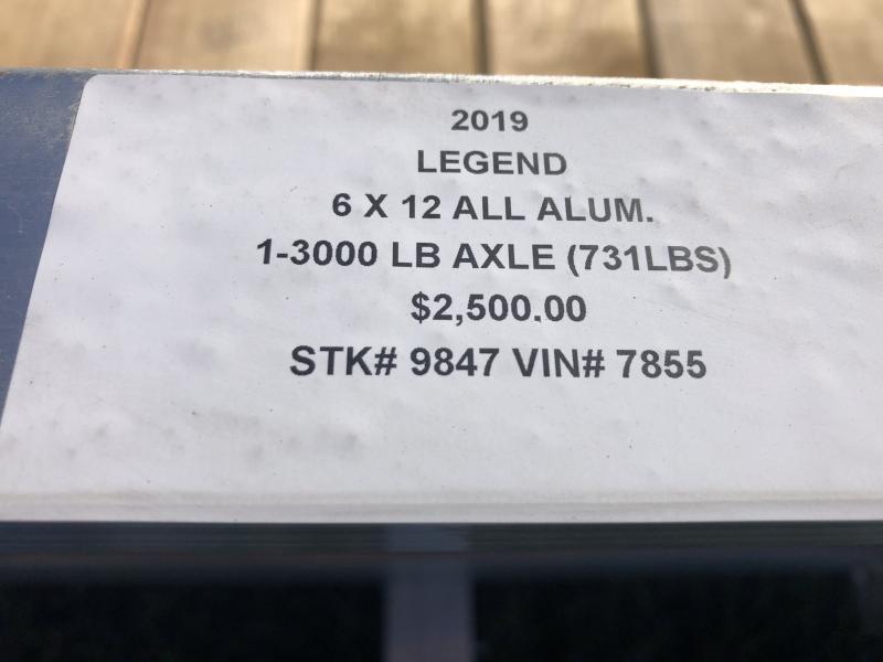 2019 LEGEND 6X12 ALL ALUMINUM UTILITY TRAILER !!PRICE REDUCED!!
