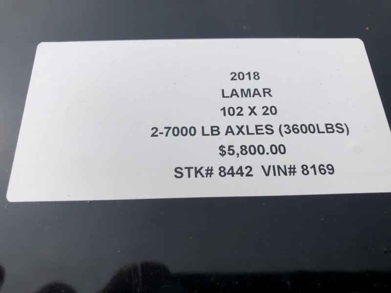 2018 LAMAR 102 X 20 DECK OVER FLATBED TRAILER