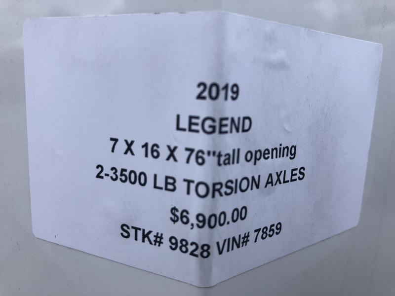 "2019 LEGEND 7 X 16 X 76"" CARGO TRAILER WITH TORSION AXLES"