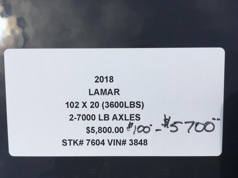 **SALE** 2018 LAMAR 102 X 20 DECKOVER FLATBED EQUIPMENT HAULER TRAILER