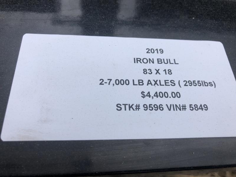 2019 IRON BULL 83X18 EQUIPMENT HAULER TRAILER