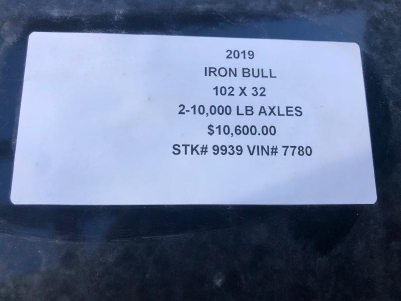 2019 IRON BULL 102X32 GOOSENECK LOPRO DECKOVER FLATBED TRAILER WITH 10K LB AXLES