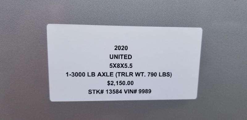 2019 UNITED 5 X 8 X 5.5 ENCLOSED CARGO TRAILER