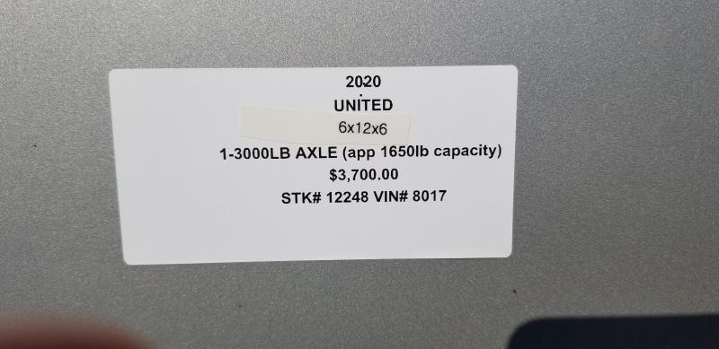 2020 UNITED 6 X 12 X 6 ENCLOSED CARGO TRAILER