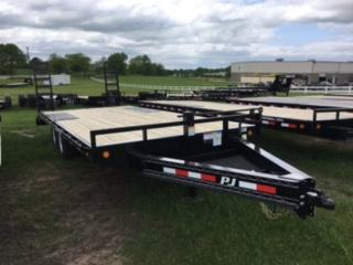 """2017 PJ 20' x 8""""  I- Beam Deckover with Fold Up Ramps"""