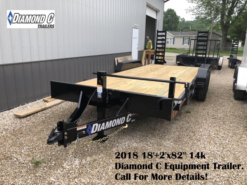 "2018 18'+2'x82"" 14k Diamond C Equipment Trailer. 2047"