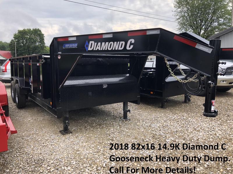 2018 82x16 14900lb GVWR Diamond C Gooseneck Heavy Duty Dump. 02871
