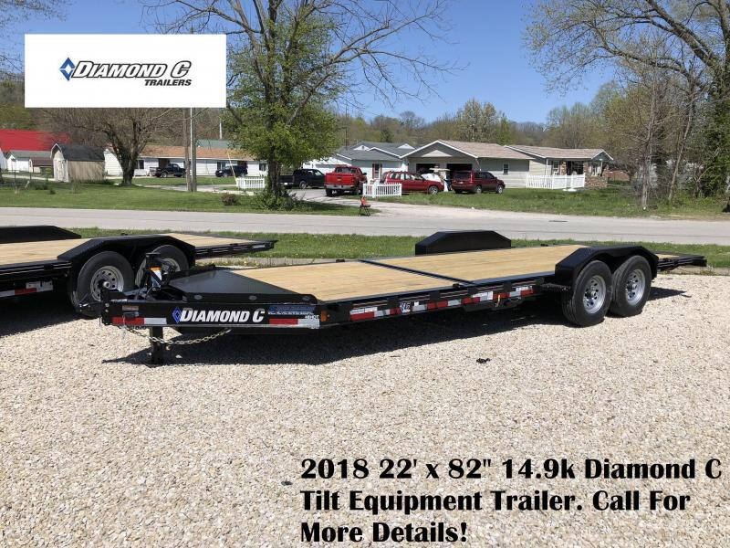 "2018 22' x 82"" 14.9k Diamond C Tilt Equipment Trailer. 00477"