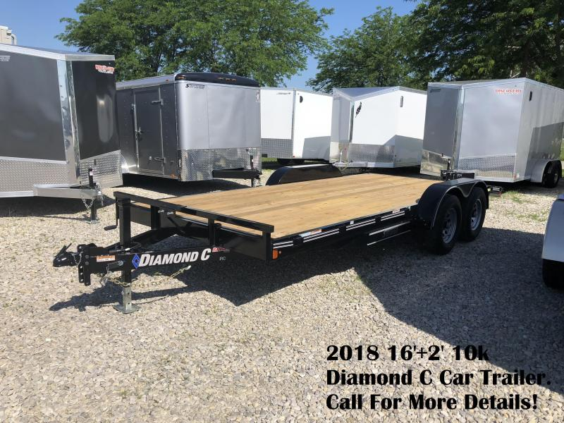 2018 16'+2' 10k Diamond C Car Trailer. 00890