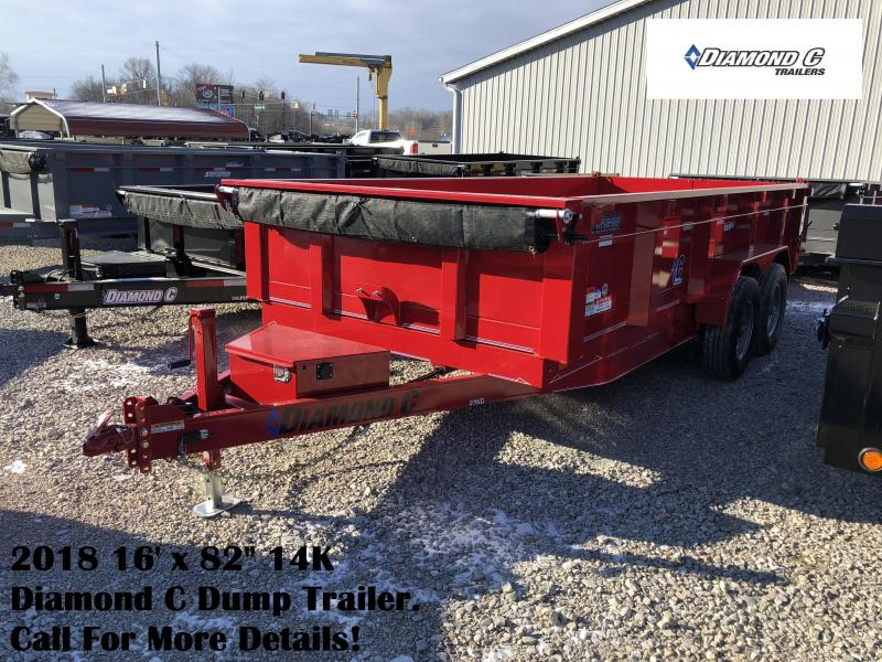 2018 82x16 14900lb GVWR Diamond C Dump Trailer. 96111