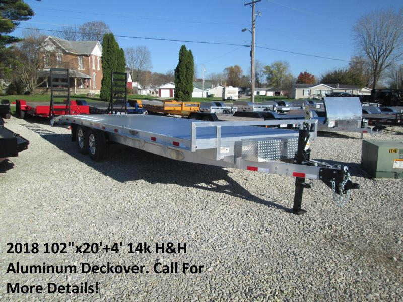 "2018 102""x20'+4' 14k H&H Aluminum Deckover. 00086"