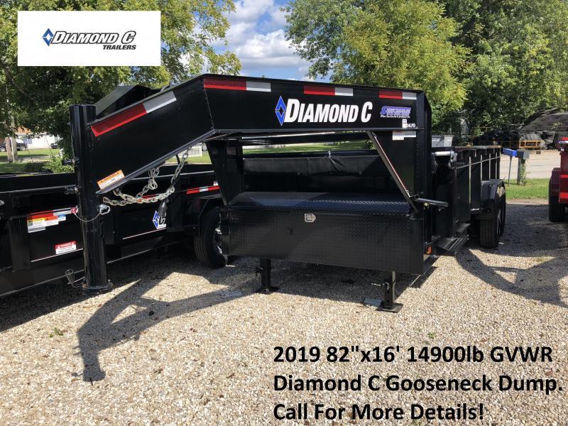 "2019 82""x16' 14900lb GVWR Diamond C Gooseneck Dump. 03374"