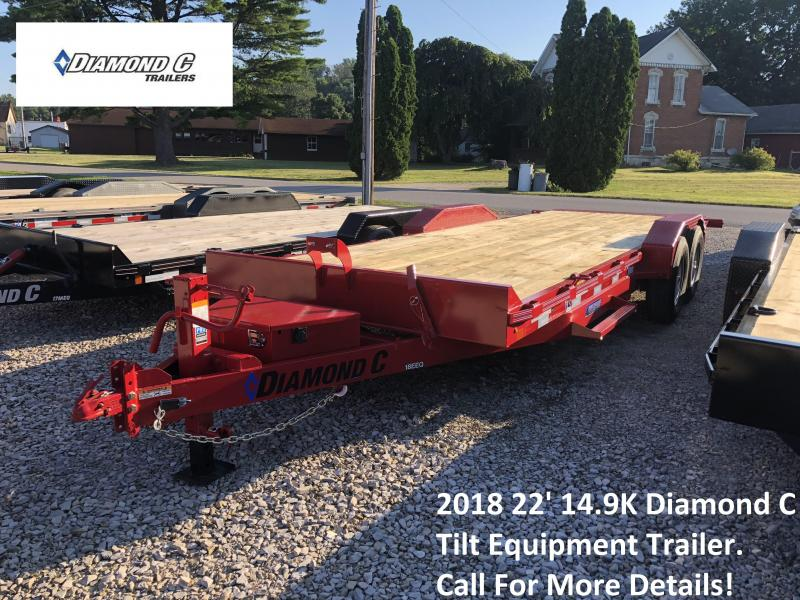 2018 22' 14.9K Diamond C Tilt Equipment Trailer. 2131