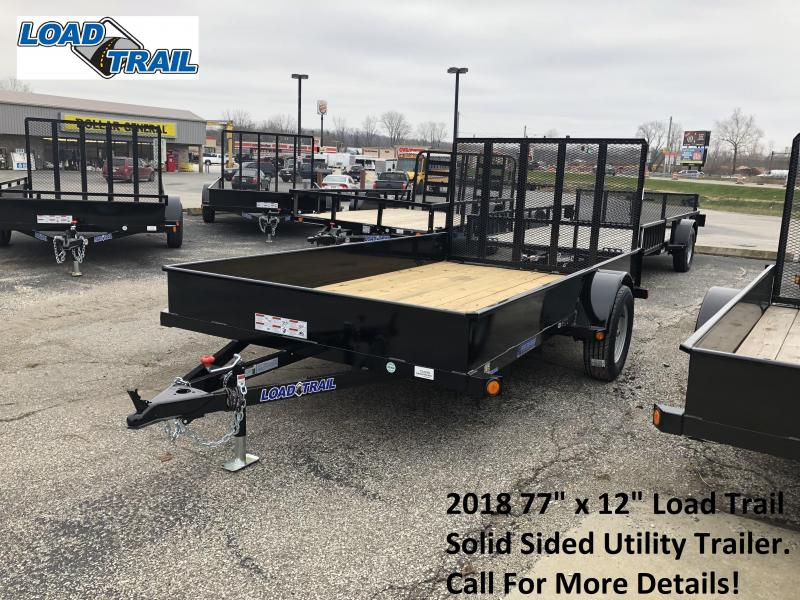"2018 77"" x 12"" Load Trail Solid Sided Utility Trailer. 54299"