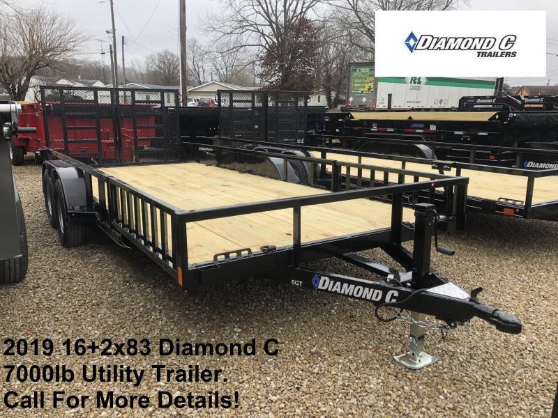 2019 16+2x83 7K Diamond C Utility Trailer. 10064