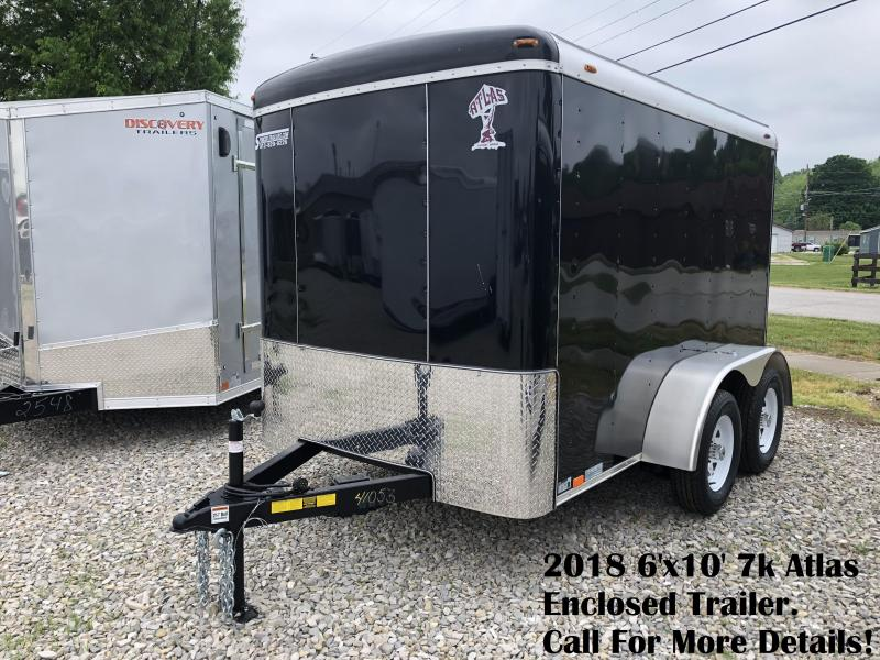 2018 6'x10' 7k Atlas Enclosed Trailer. 41053