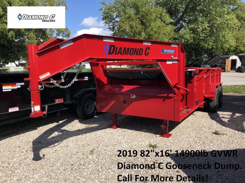 "2019 82""x16' 14900lb GVWR Diamond C Gooseneck Dump. 04863"