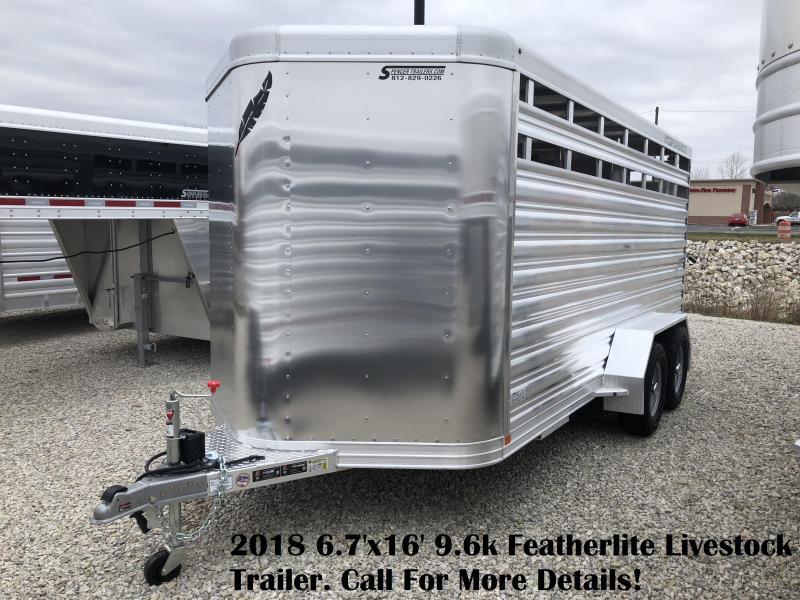 2018 6.7'x16' 9.6k Featherlite Livestock Trailer. 148389