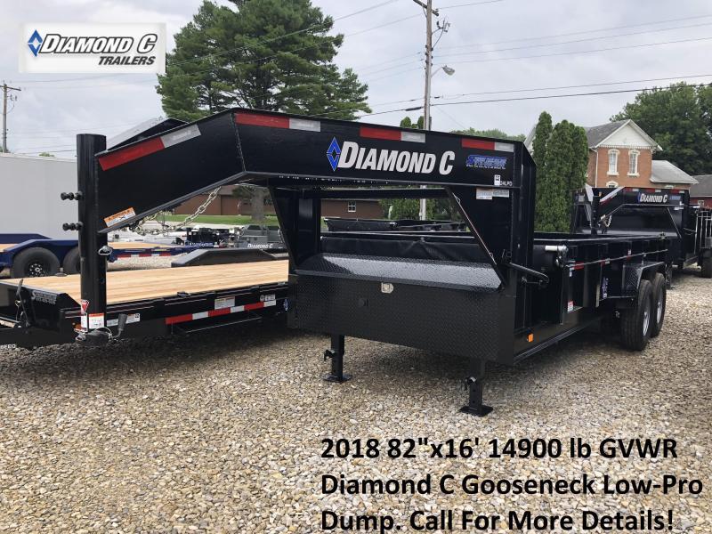 "2018 82""x16' 14900 lb GVWR Diamond C Gooseneck Low-Pro Dump. 03375"