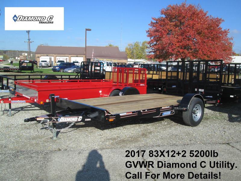 2017 83X12+2 5200lb GVWR Diamond C Utility. 93370