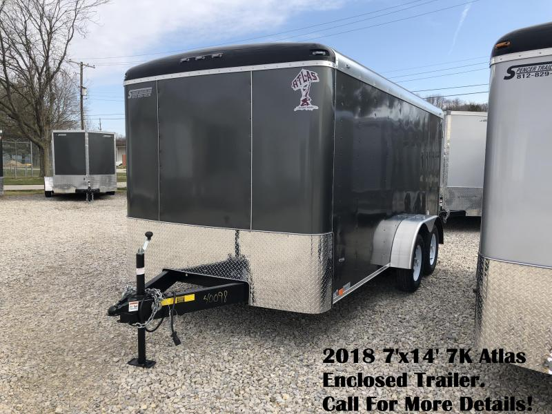 2018 7'x14' 7K Atlas Enclosed Trailer. 40098