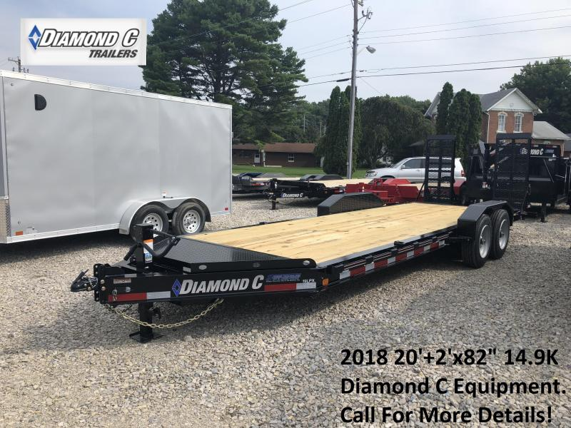 "2018 20'+2'x82"" 14.9K Diamond C Equipment Trailer. 4601"
