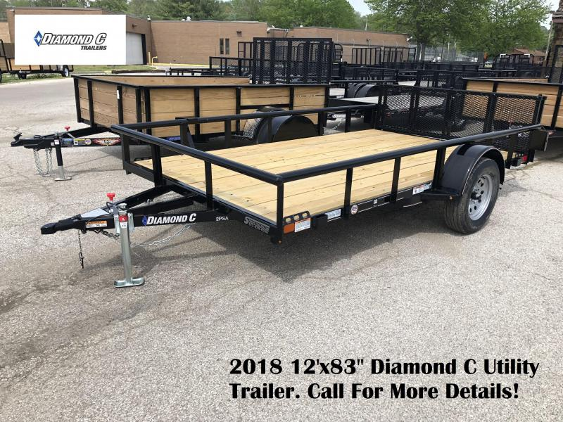 "2018 12'x83"" Diamond C Utility Trailer. 01365"
