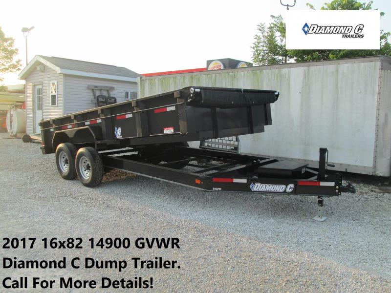 2017 16x82 14900 GVWR Diamond C Dump Trailer. 91934