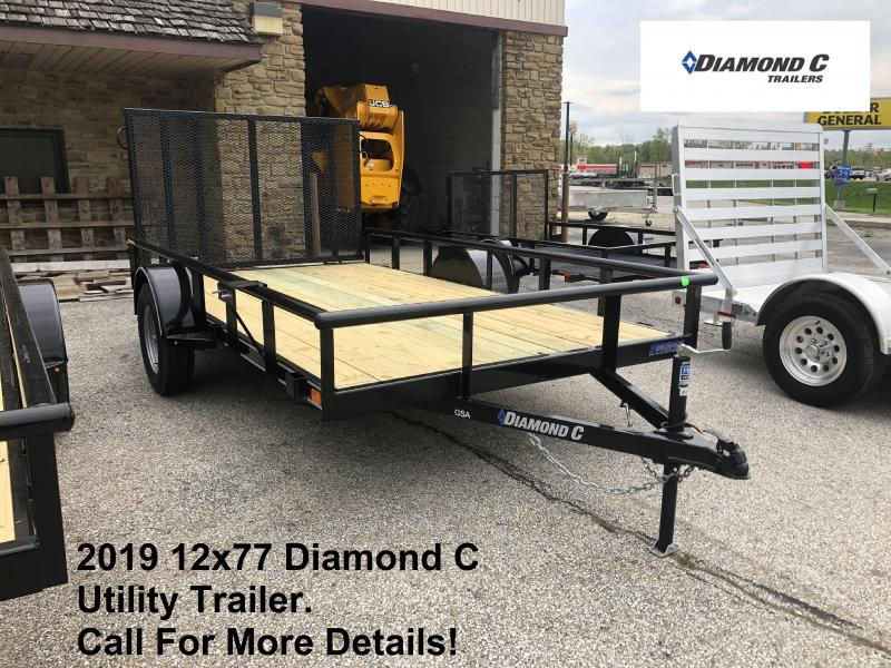 2019 12x77 Diamond C Utility Trailer. 14038