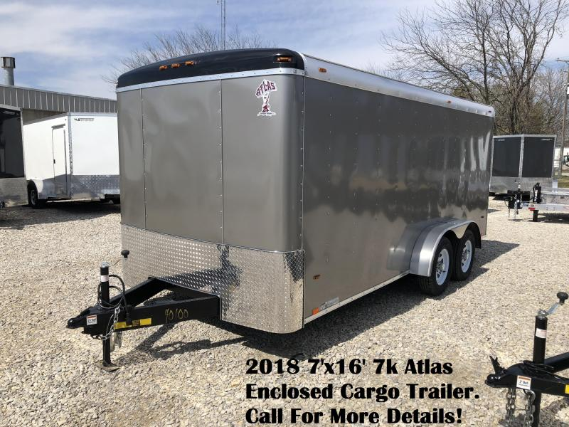 2018 7'x16' 7k Atlas Enclosed Cargo Trailer. 40100