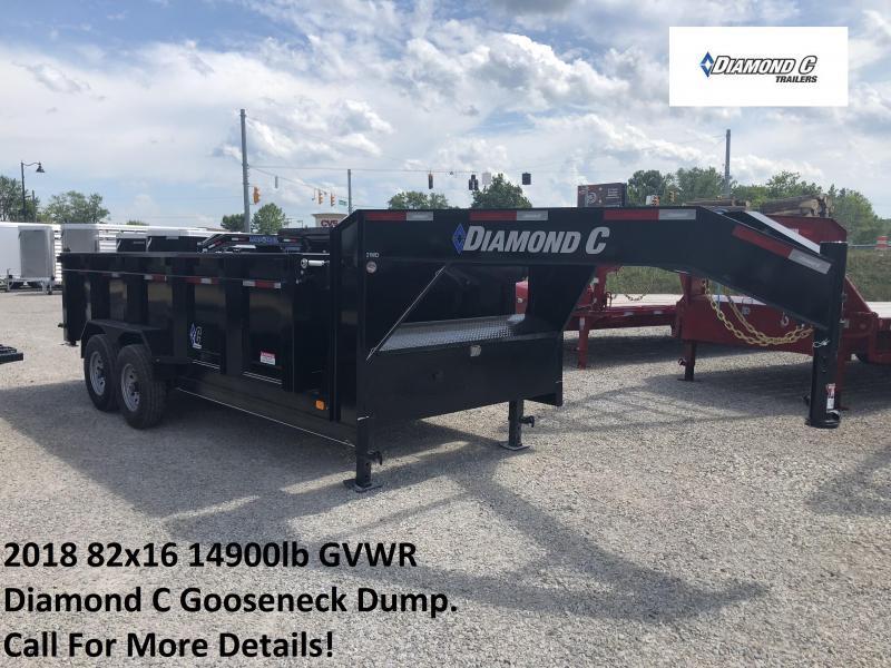 2018 82x16 14900lb GVWR Diamond C Gooseneck Heavy Duty Dump. 02873