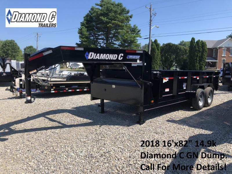 "2018 16'x82"" 14.9k Diamond C GN Dump Trailer. 2390"