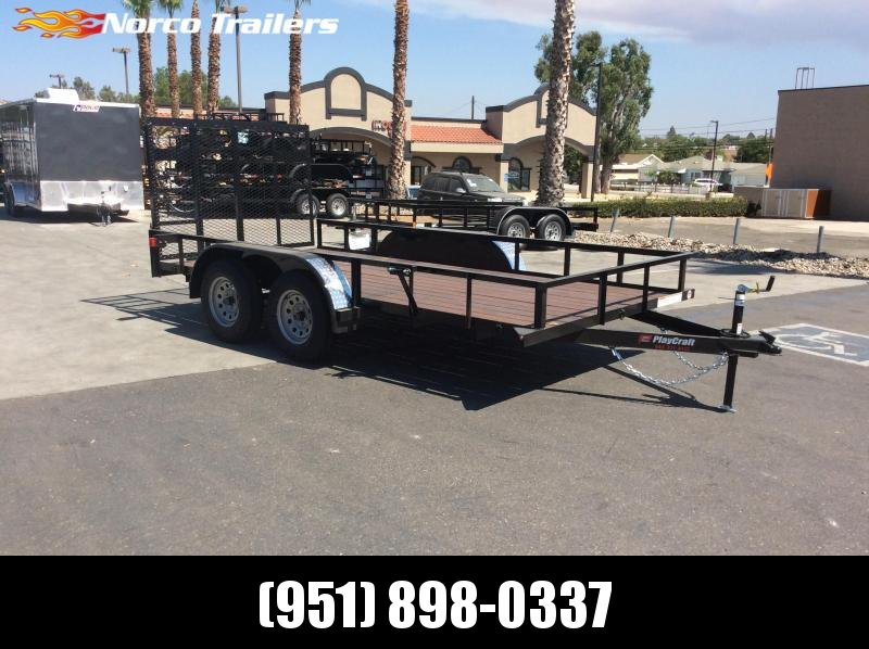 2018 Playcraft 77 x 14 Light Duty Tandem Axle Utility Trailer