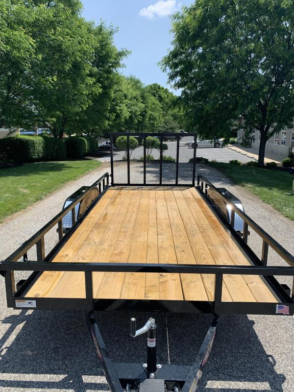 2019 H and H Trailer 82 x 16 Steel Railside Tandem Utility Trailer