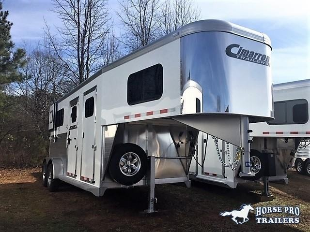 2020 Cimarron 2 Horse Straight Load Gooseneck w/STUD PANEL & 5' DRESSING ROOM!