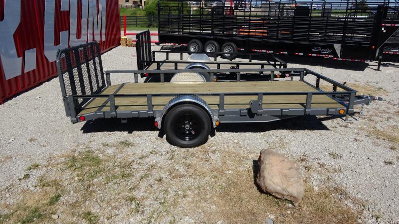 "2020 PJ 14'x83"" Utility Trailer 3500lb Single Axle Dovetrail with Fold-up Gate Black Wheels and Gray Powder Coat"