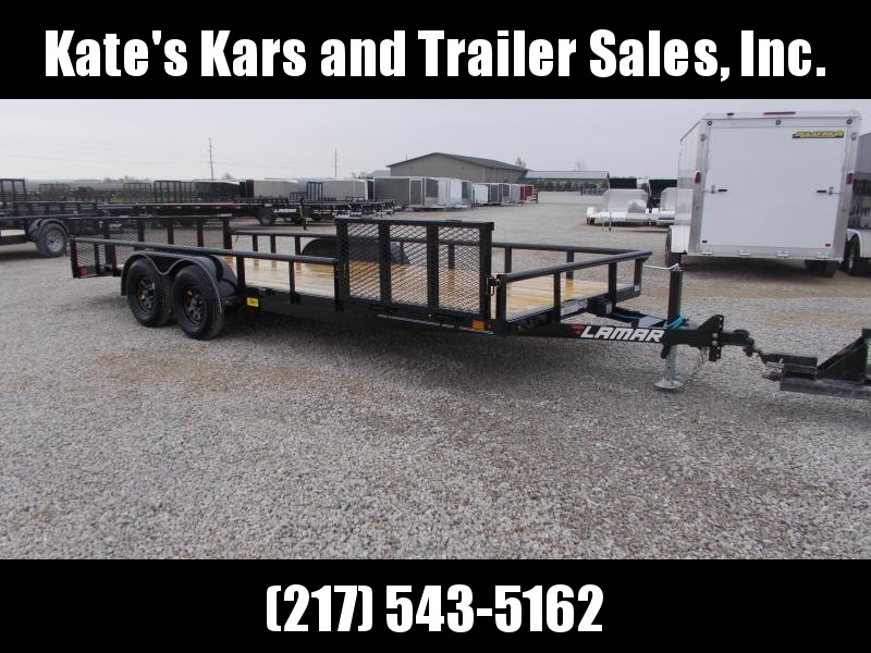 "SIDE GATE!! Lamar 83""X20' HD Commercial Utility Trailer PipeTop"