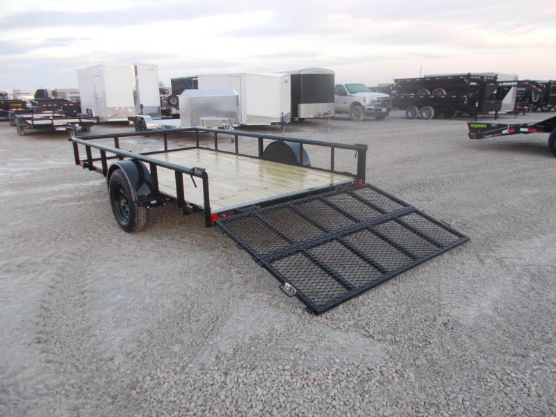 SPRING LOADED GATE! Lamar 77X12' ATV Trailer W/ Bi Fold Gate Utility Trailer