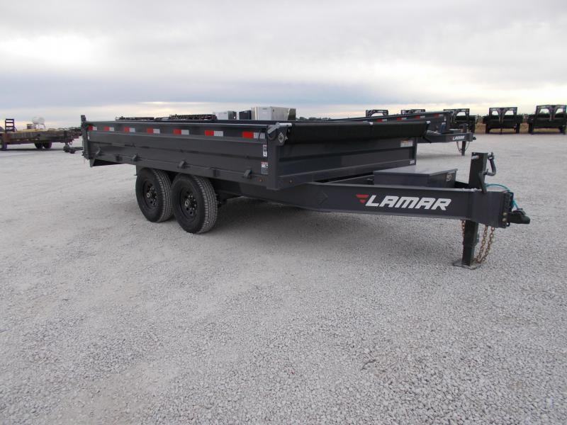 *NEW* Lamar 95x14' deckover fold down side dump Trailer