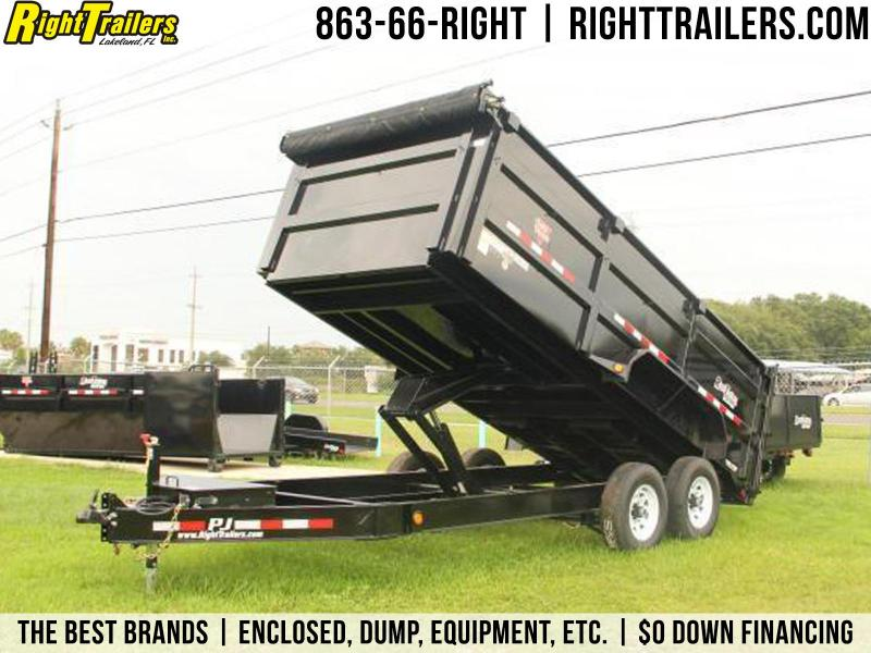 7x16x4 PJ Trailers | Dump Trailer [Low-Pro/High Sides]