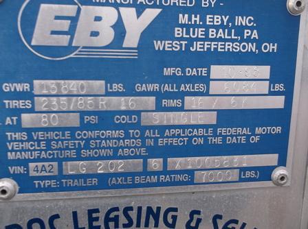 1999 Eby Horse Trailer