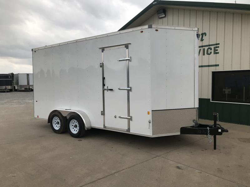 """2019 Interstate 7 X 16 White Enclosed 12"""" Extra Height"""