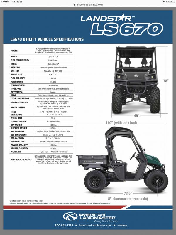 2018 American Land Master LANDSTAR 670 Utility Side-by-Side (UTV)
