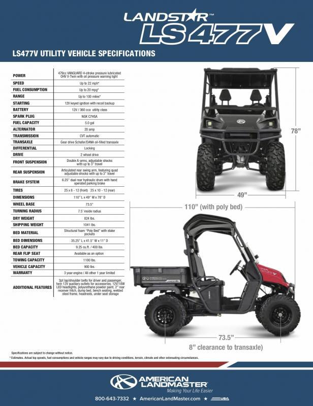2019 American Land Master LANDSTAR 477V Utility Side-by-Side (UTV)