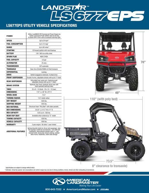 2018 American Land Master LS 677EPS Utility Side-by-Side (UTV)
