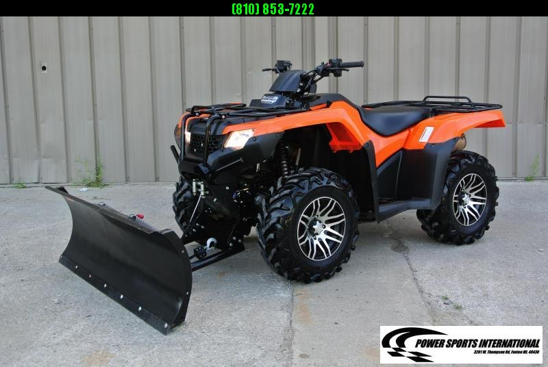 2014 HONDA TRX420FA1E FOURTRAX RANCHER (4X4 AUTOMATIC TRANSMISSION) ORANGE WITH WARN Plow