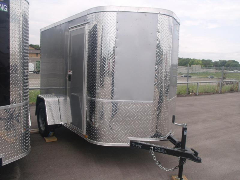"Enclosed Trailer 5 X 8 Ramp Silver In Color  ALL Tube Construction 5' 6"" Height"