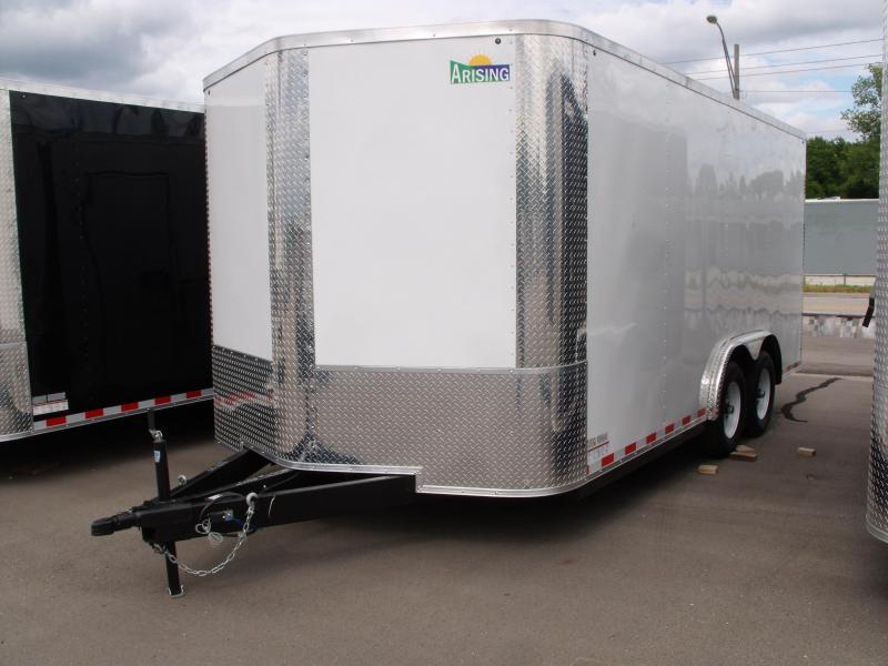 Enclosed Trailer 8.5 X 16 Dove Tail Ramp   7 ' Interior 9990 GVW ALL TUBE Construction   White  In Color  4 Wheel Brakes