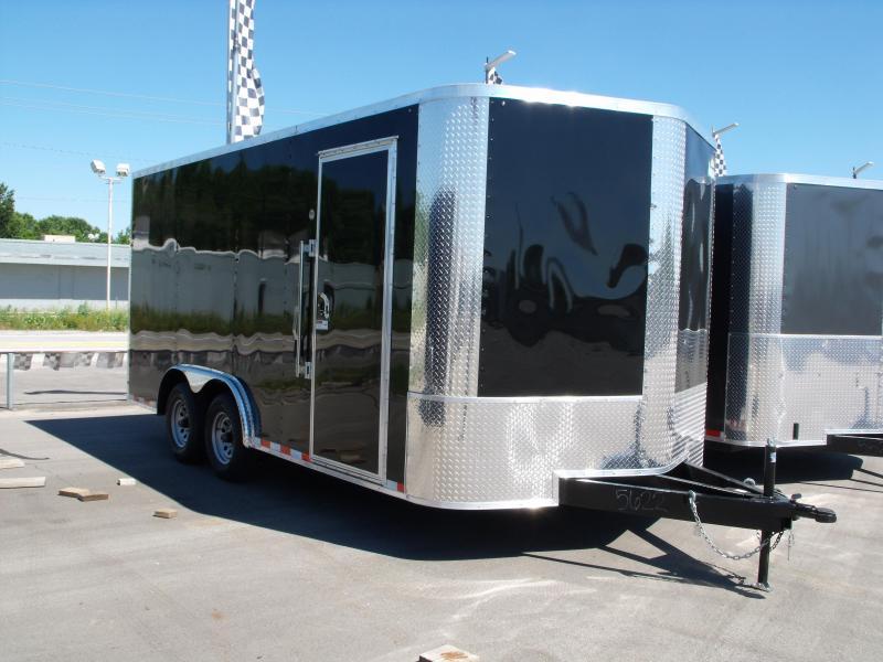Enclosed Trailer 8.5 X 16 Dove Tail Ramp   7 ' Interior 9990 GVW ALL TUBE Construction(( 030 Skin)) Black In Color  4 Wheel Brakes