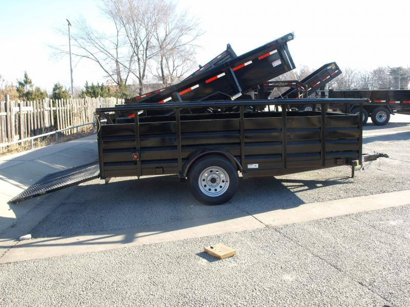 77 X 12 Hi Wall Utility Trailer Pipe Rail Top  Soothe Sides Ramp  2990 # Axle